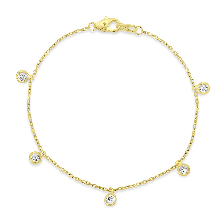 Diamond Dangle Station Bracelet in 14k Yellow Gold (0.50 ctw)