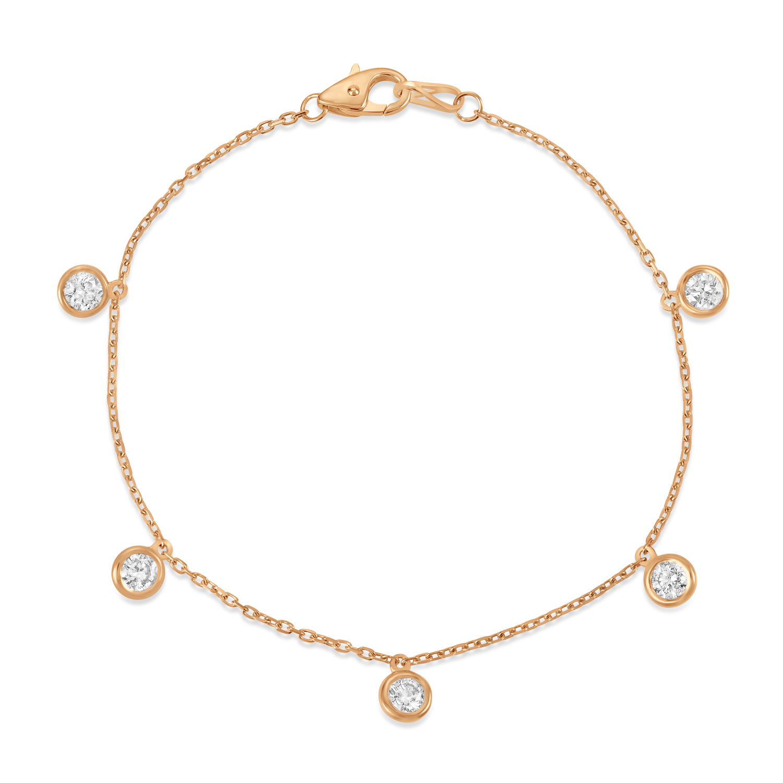 Diamond Dangle Station Bracelet in 14k Rose Gold (1.00 ctw)