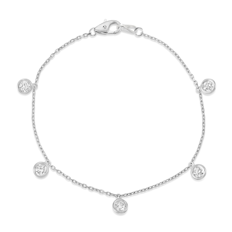 Diamond Dangle Station Bracelet in 14k White Gold (1.00 ctw)
