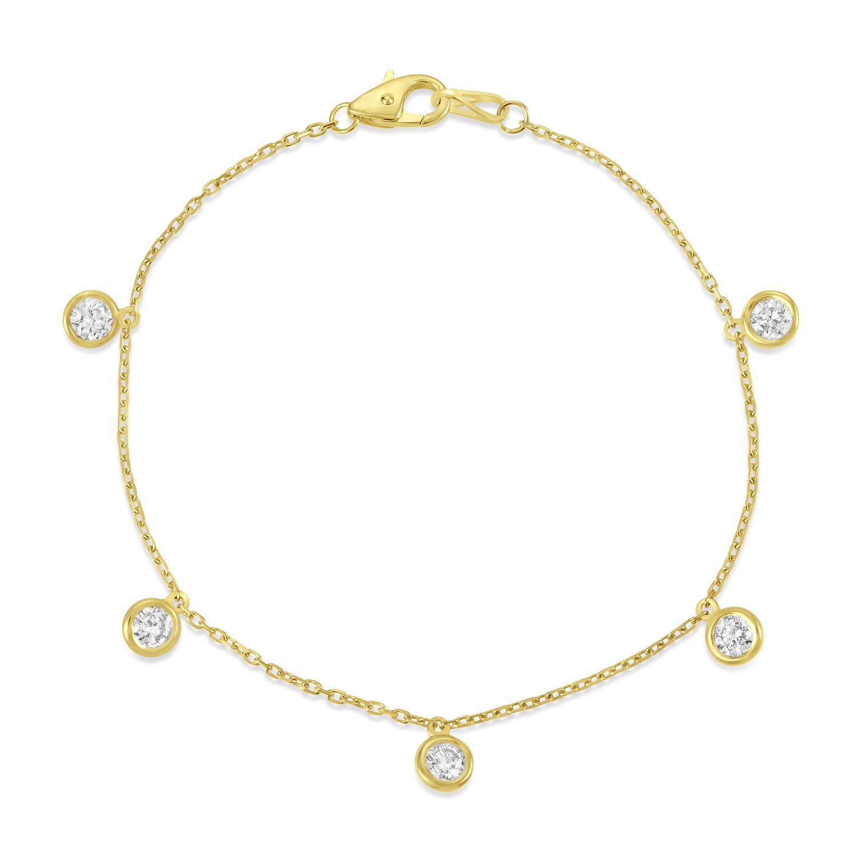 Diamond Dangle Station Bracelet in 14k Yellow Gold (1.00 ctw)