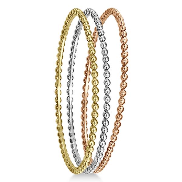 Women's Stackable Plain Metal Beaded Bangle Bracelet in 14k Rose Gold