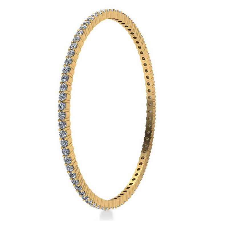 Stackable Diamond Bangle Eternity Bracelet 14k Yellow Gold (5.18ct)