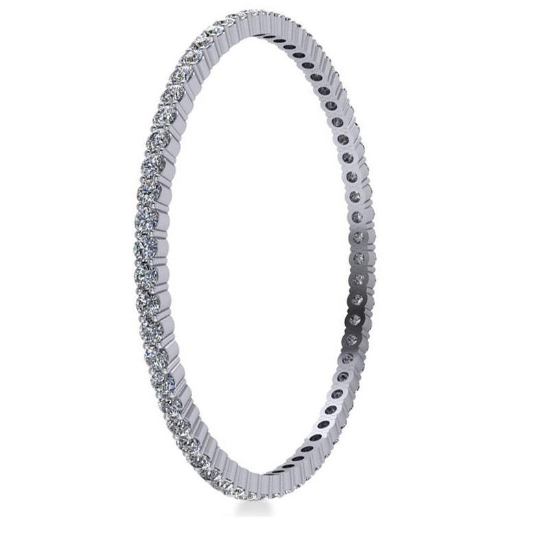 Stackable Diamond Bangle Eternity Bracelet 14K White Gold (9.00ct)