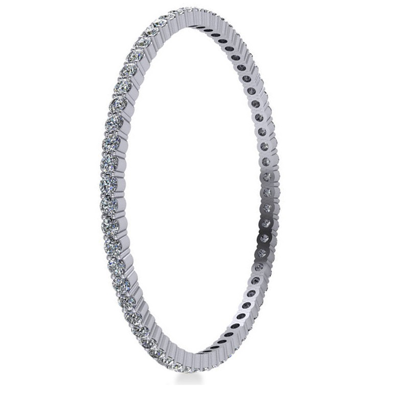 Stackable Diamond Bangle Eternity Bracelet 18K White Gold (9.00ct)