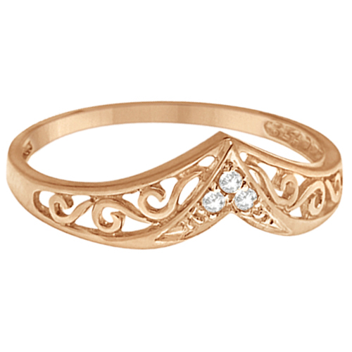 Antique Style Chevron Diamond Ring 14k Rose Gold (0.05ct)