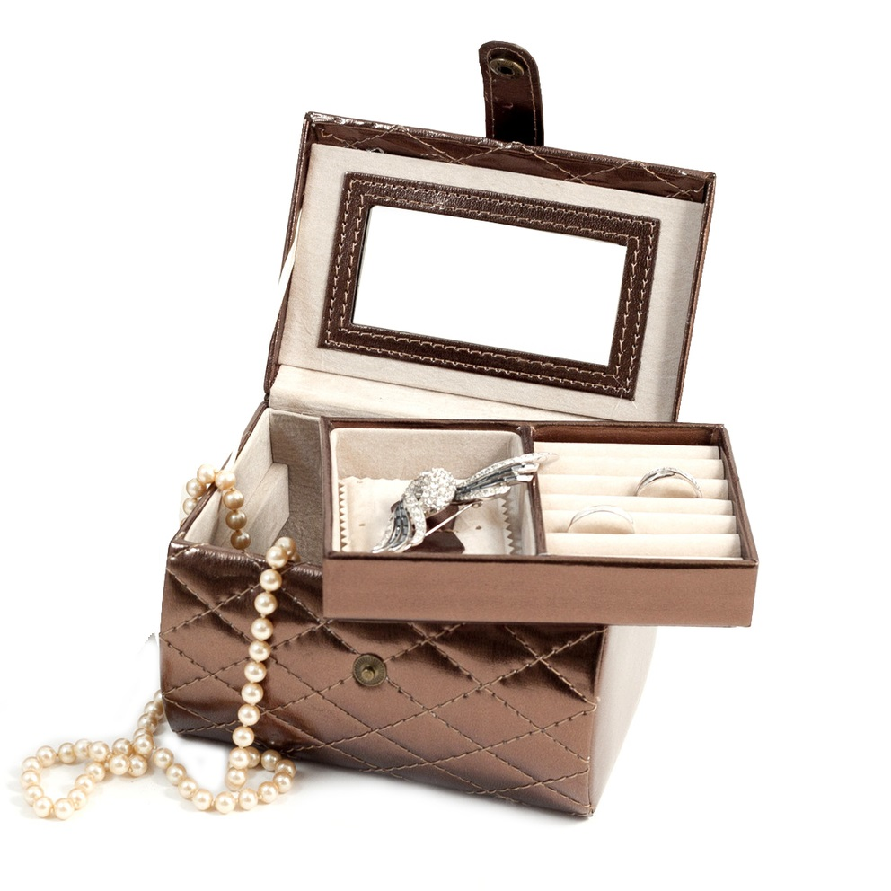 Leatherette jewelry box with removable tray mirror allurez for Mirror jewelry box