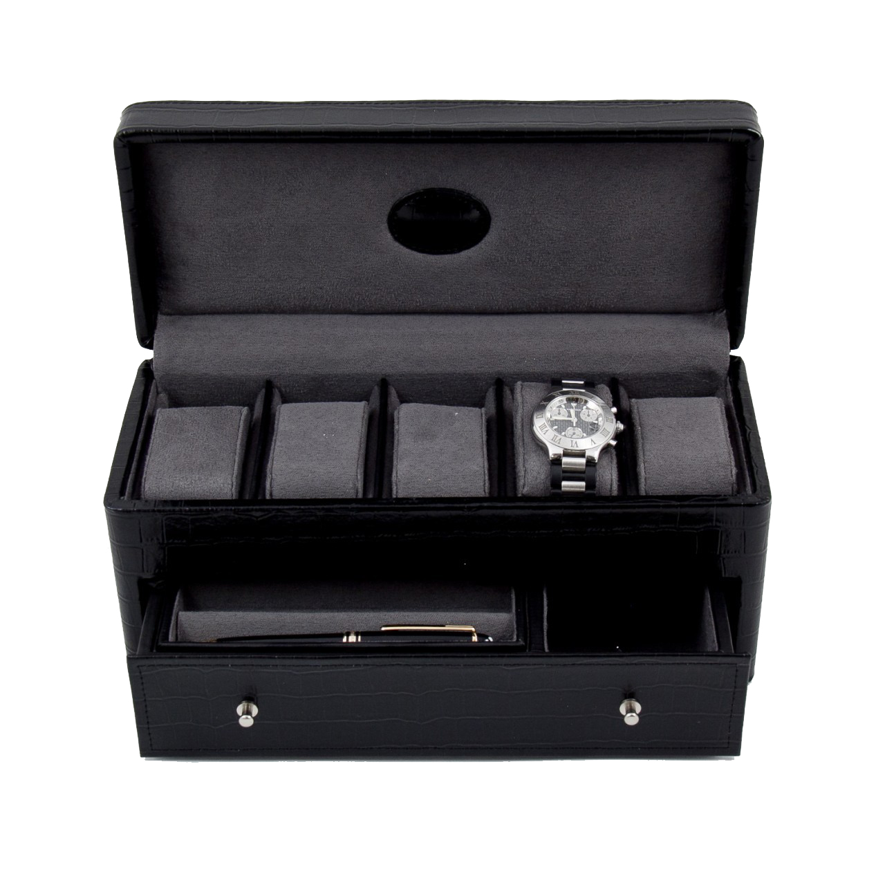 Black Croco Leather 5 Watch Box w/ Drawer for Pens and Accessories