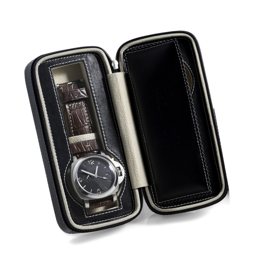 Black Leather 2 Watch Travel Case with Compartments and Zipper Closure