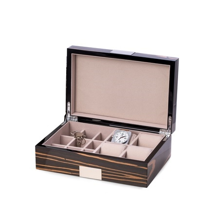 Ebony 4 Watch & 9 Cufflink Wood Valet Box w/ Stainless Steel Accent