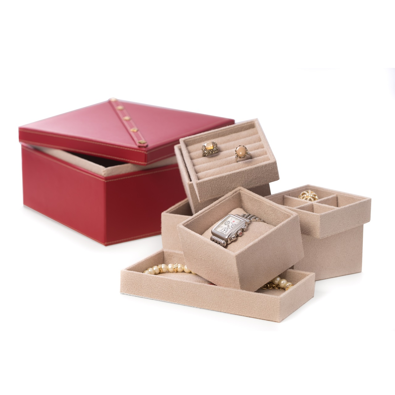 Studded Red Leather Two Level Jewelry BoxRemovable ...