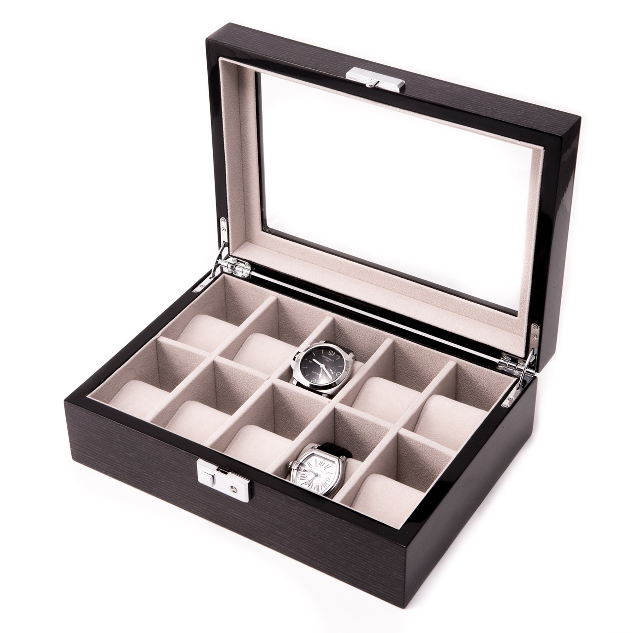 Steel Gray Wood 10 Watch Case w/ Glass Top and Silver Accents