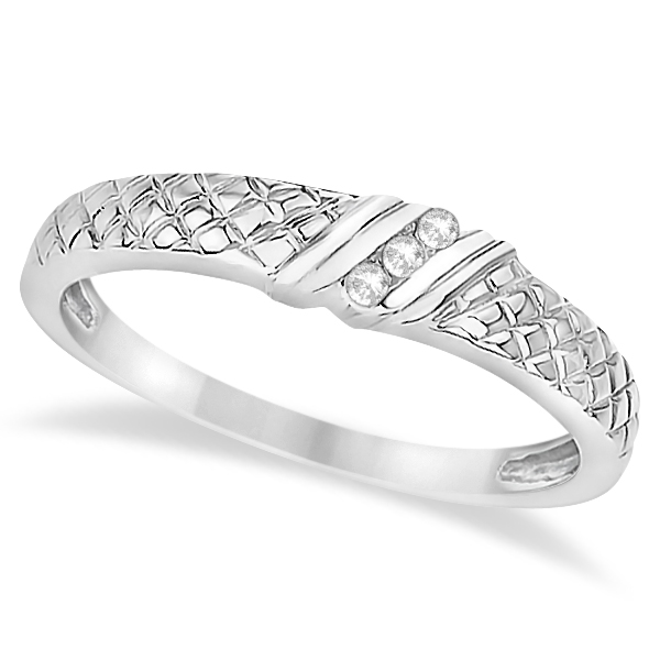 Men's Diamond Wedding Ring Filigree  14K White Gold (0.05ct)