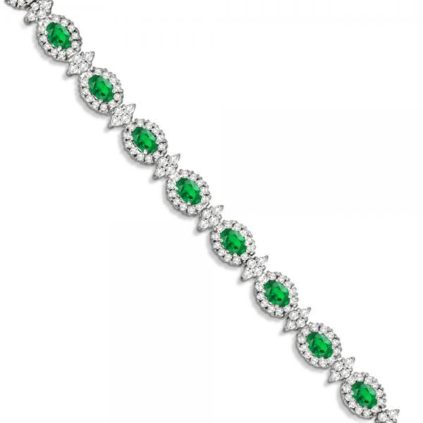 Emerald and Diamond Flower Fashion Bracelet 14k White Gold (10.40ct)
