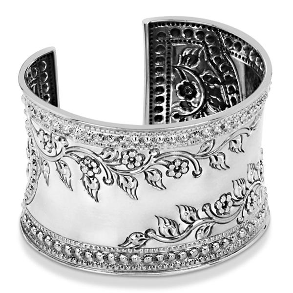 Fashion Cuff Bracelet Etched Floral Design 45mm Wide Sterling Silver
