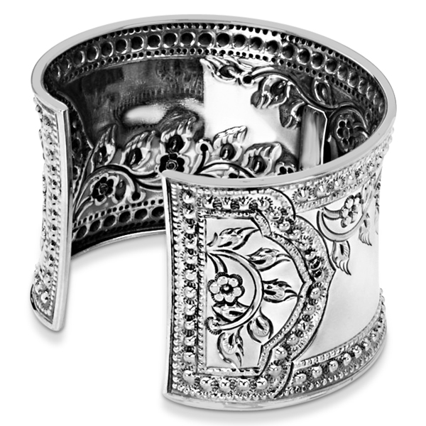 Fashion Cuff Bracelet Etched Floral Design 45mm Wide Sterling Silver