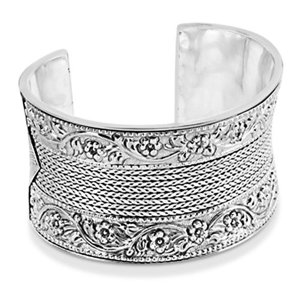 Cuff Bracelet with Etched Flower & Rope 51mm Wide Sterling Silver