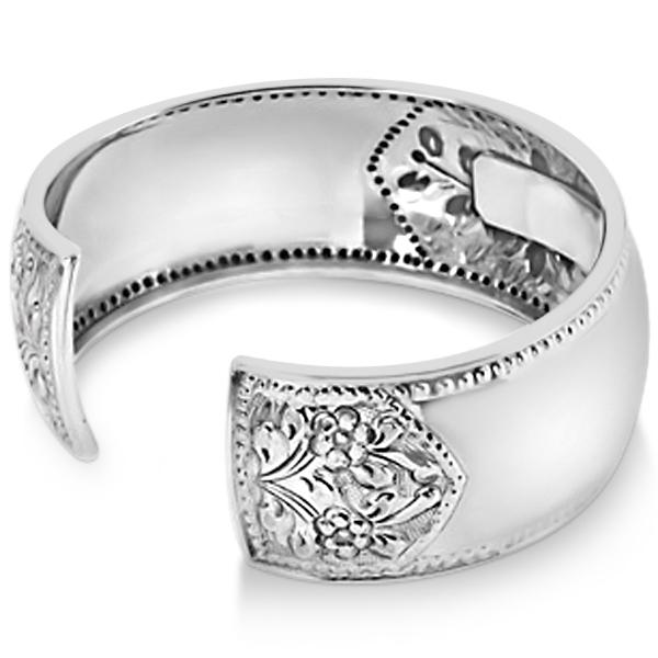 Fashion Cuff Bracelet w Etched Flower Design 25mm Wide Sterling Silver