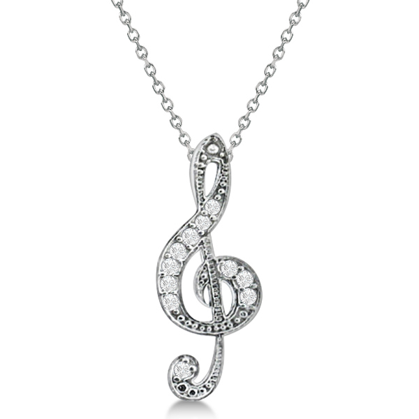 Women's Diamond Musical Note Pendant Necklace 14k White Gold 0.11ct