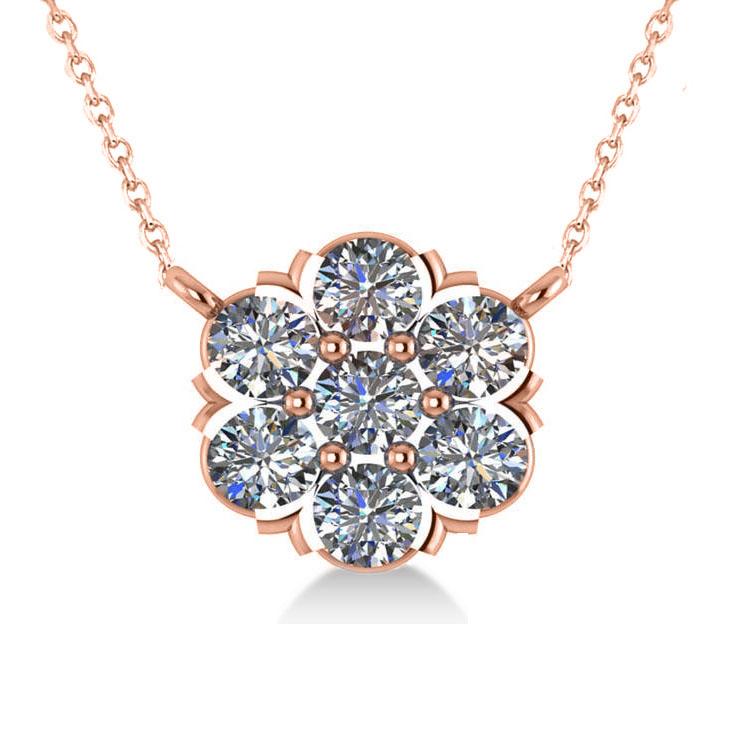 Diamond Flower Cluster Pendant Necklace 14k Rose Gold (1.06ct)