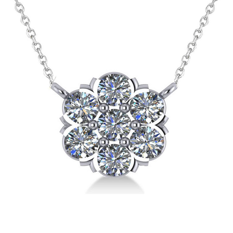 Diamond Flower Cluster Pendant Necklace 14k White Gold (1.06ct)