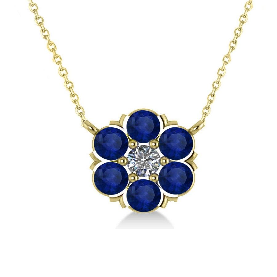 blue sapphire diamond cluster pendant necklace 14k. Black Bedroom Furniture Sets. Home Design Ideas