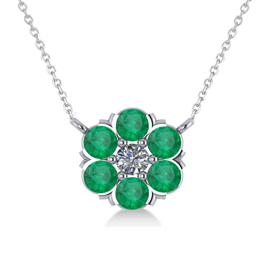 Emerald & Diamond Cluster Pendant Necklace 14k White Gold (1.06ct)
