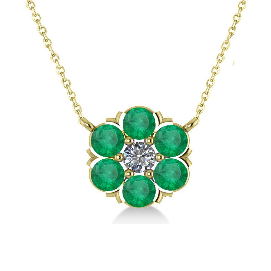 Emerald & Diamond Cluster Pendant Necklace 14k Yellow Gold (1.06ct)