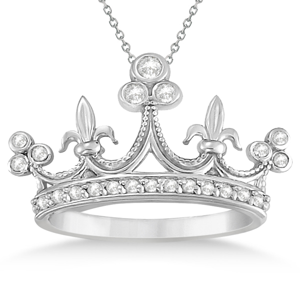 Bezel Set Diamond Crown Pendant Necklace in 14k White Gold (0.26ct)