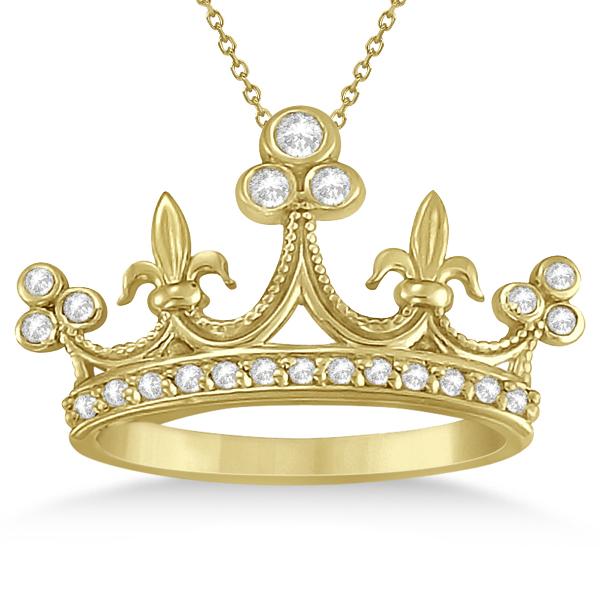 Bezel Set Diamond Crown Pendant Necklace in 14k Yellow Gold (0.26ct)