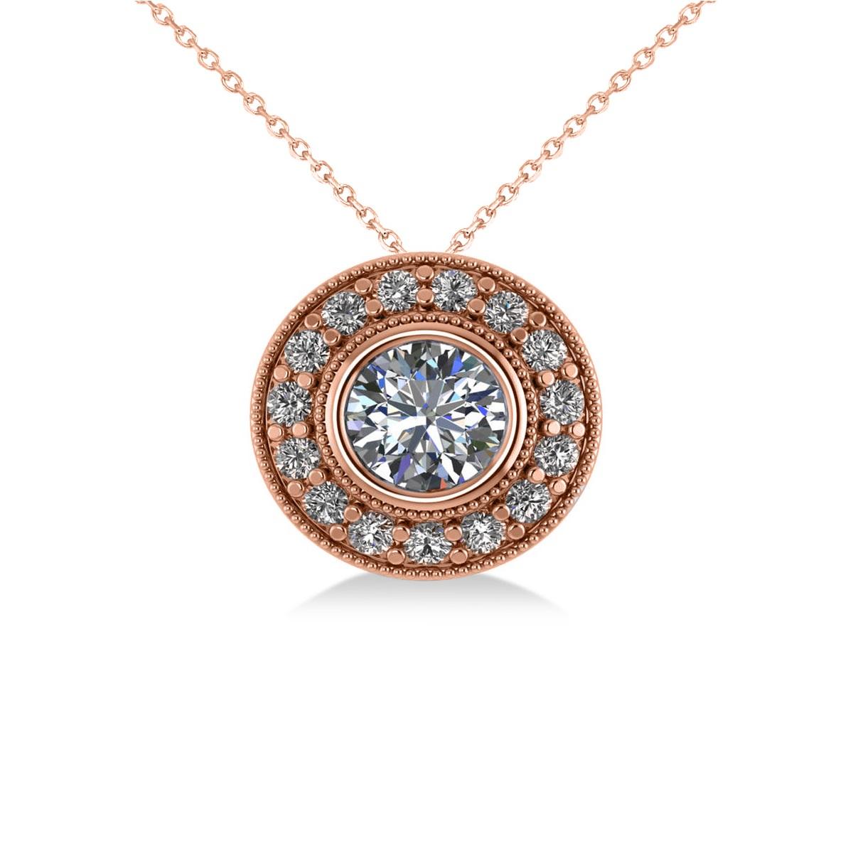 Round Diamond Halo Pendant Necklace 14k Rose Gold (1.45ct)