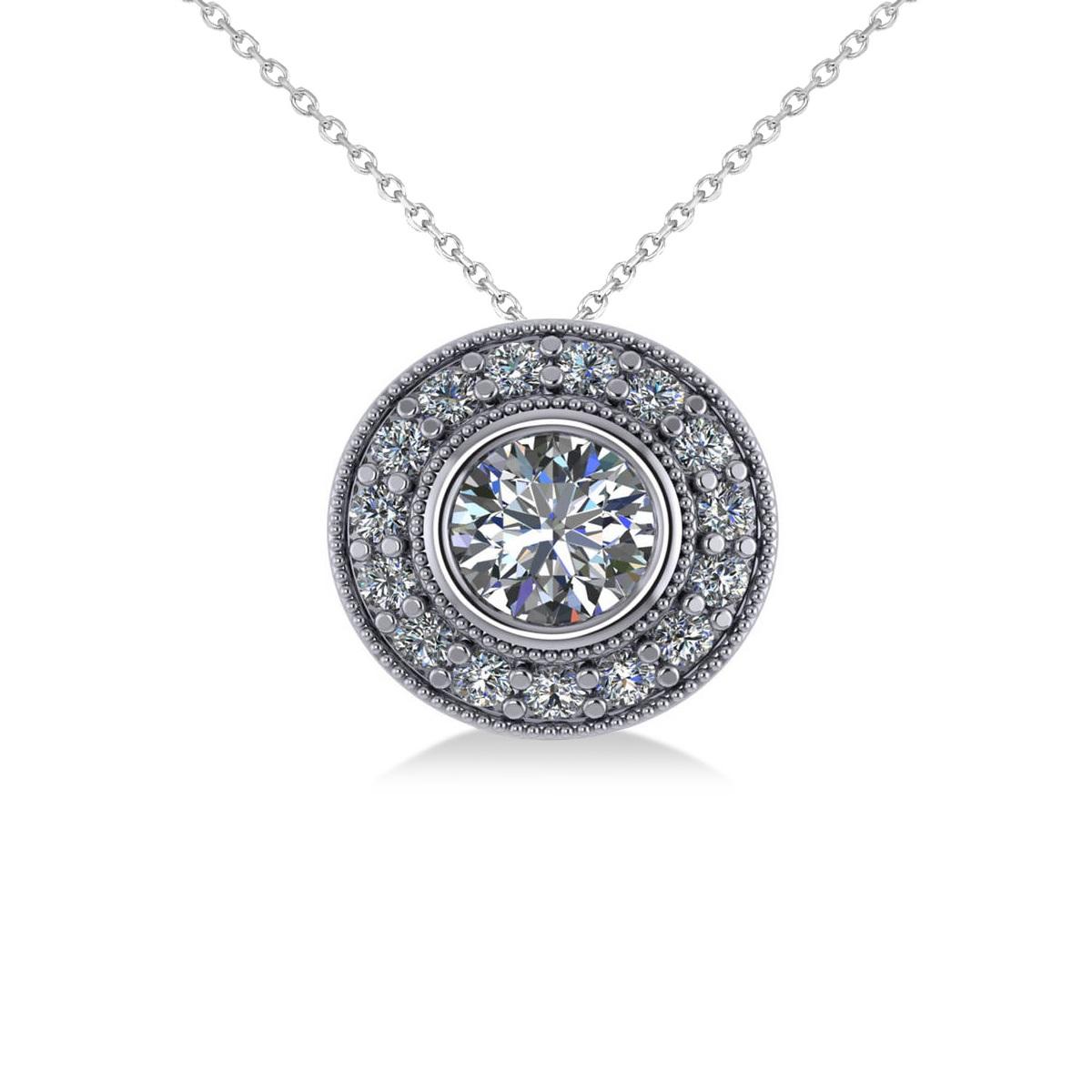 Round Diamond Halo Pendant Necklace 14k White Gold (1.45ct)
