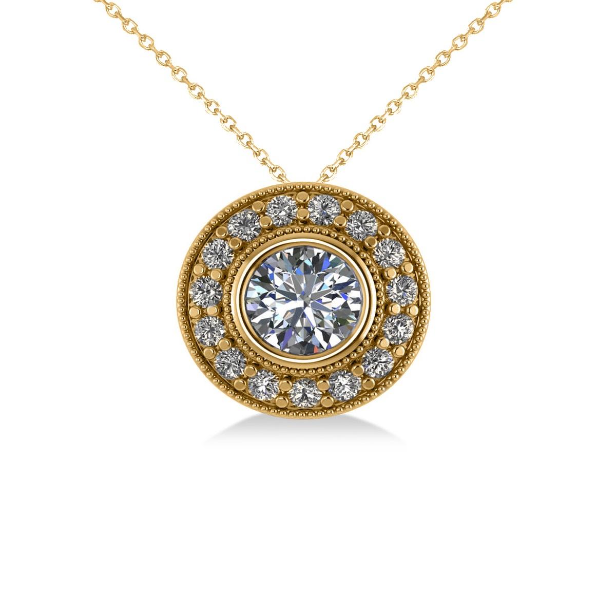 Round Diamond Halo Pendant Necklace 14k Yellow Gold (1.45ct)