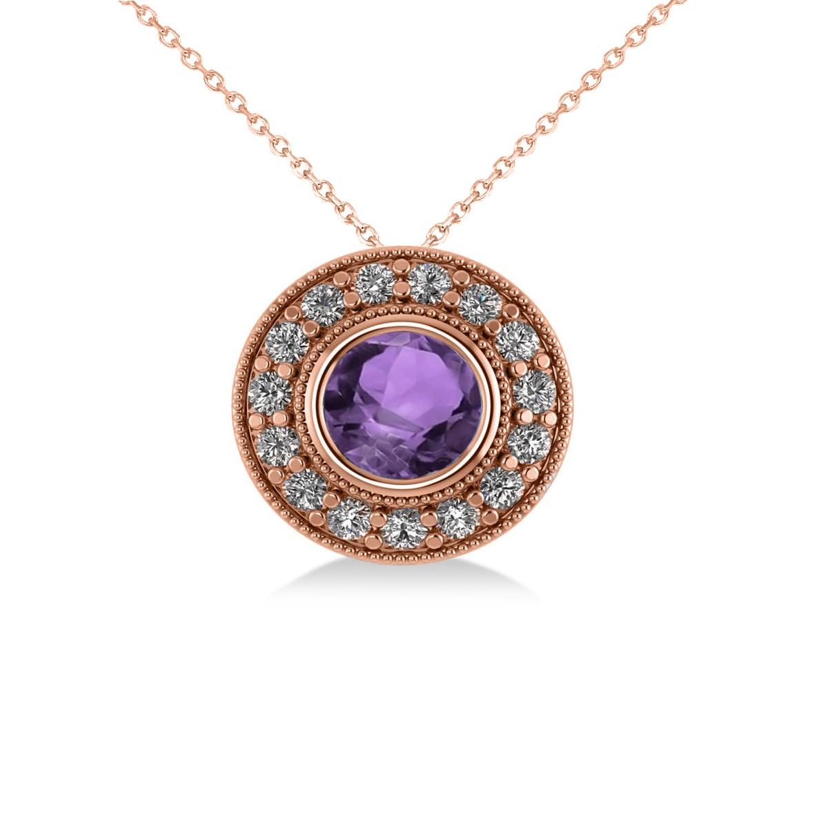 Round Amethyst & Diamond Halo Pendant Necklace 14k Rose Gold (1.55ct)
