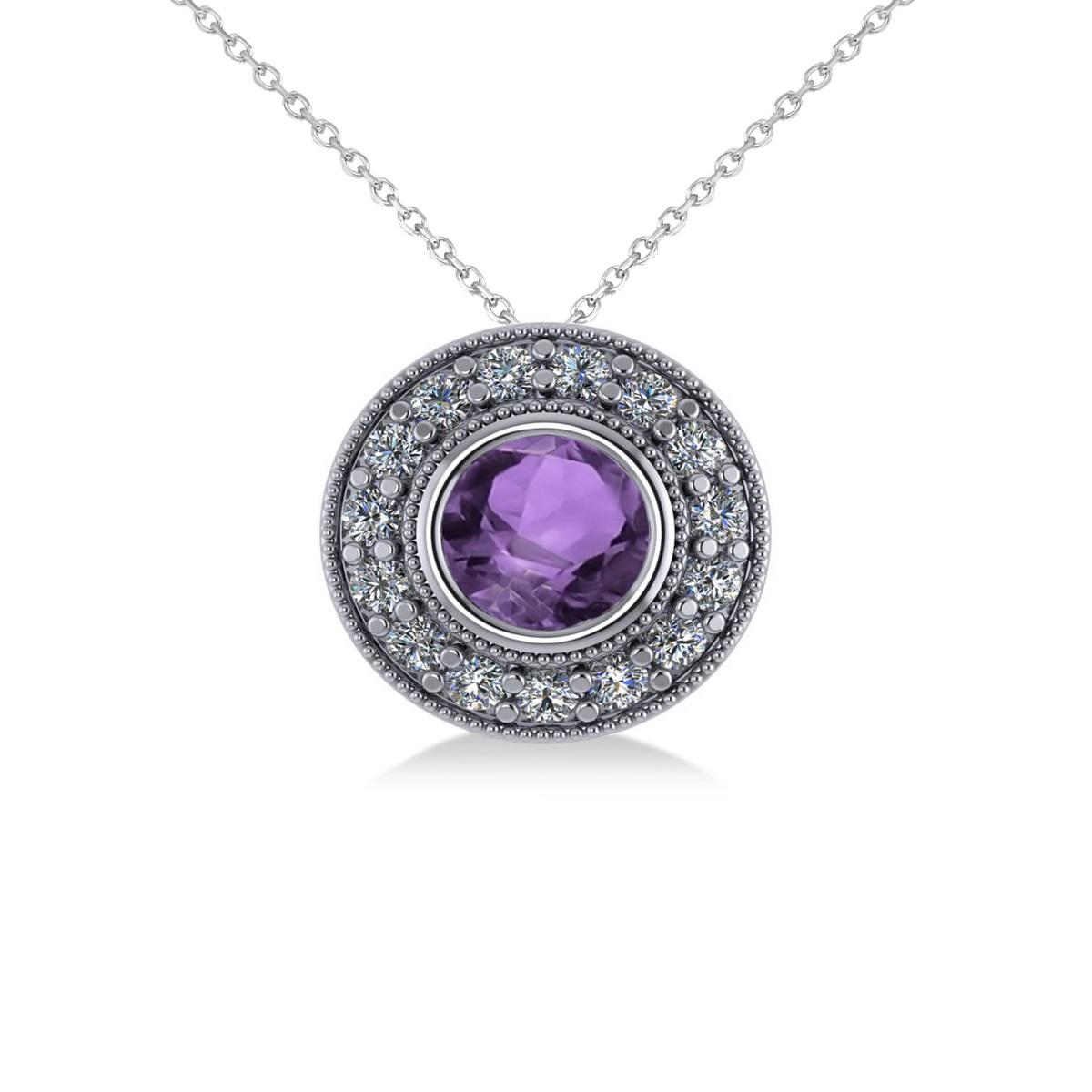 Round Amethyst & Diamond Halo Pendant Necklace 14k White Gold (1.55ct)