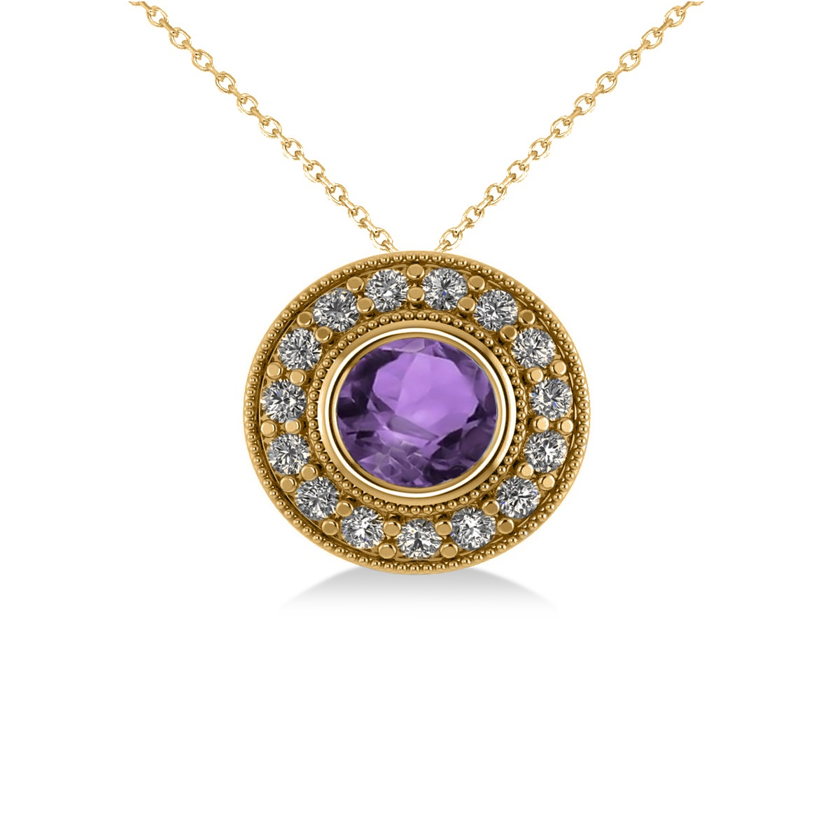 Round Amethyst & Diamond Halo Pendant Necklace 14k Yellow Gold (1.55ct)