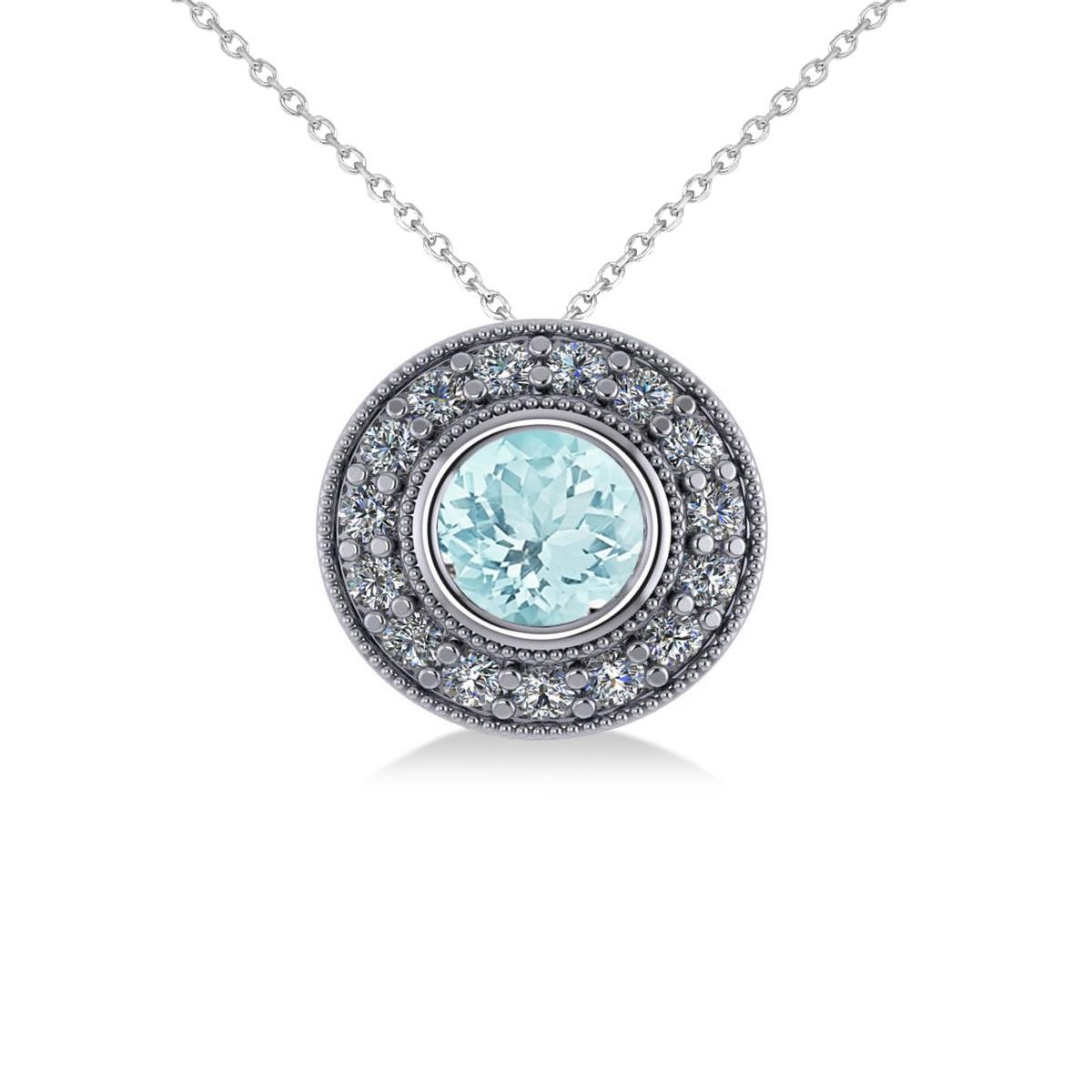 Round Aquamarine & Diamond Halo Pendant Necklace 14k White Gold (1.76ct)