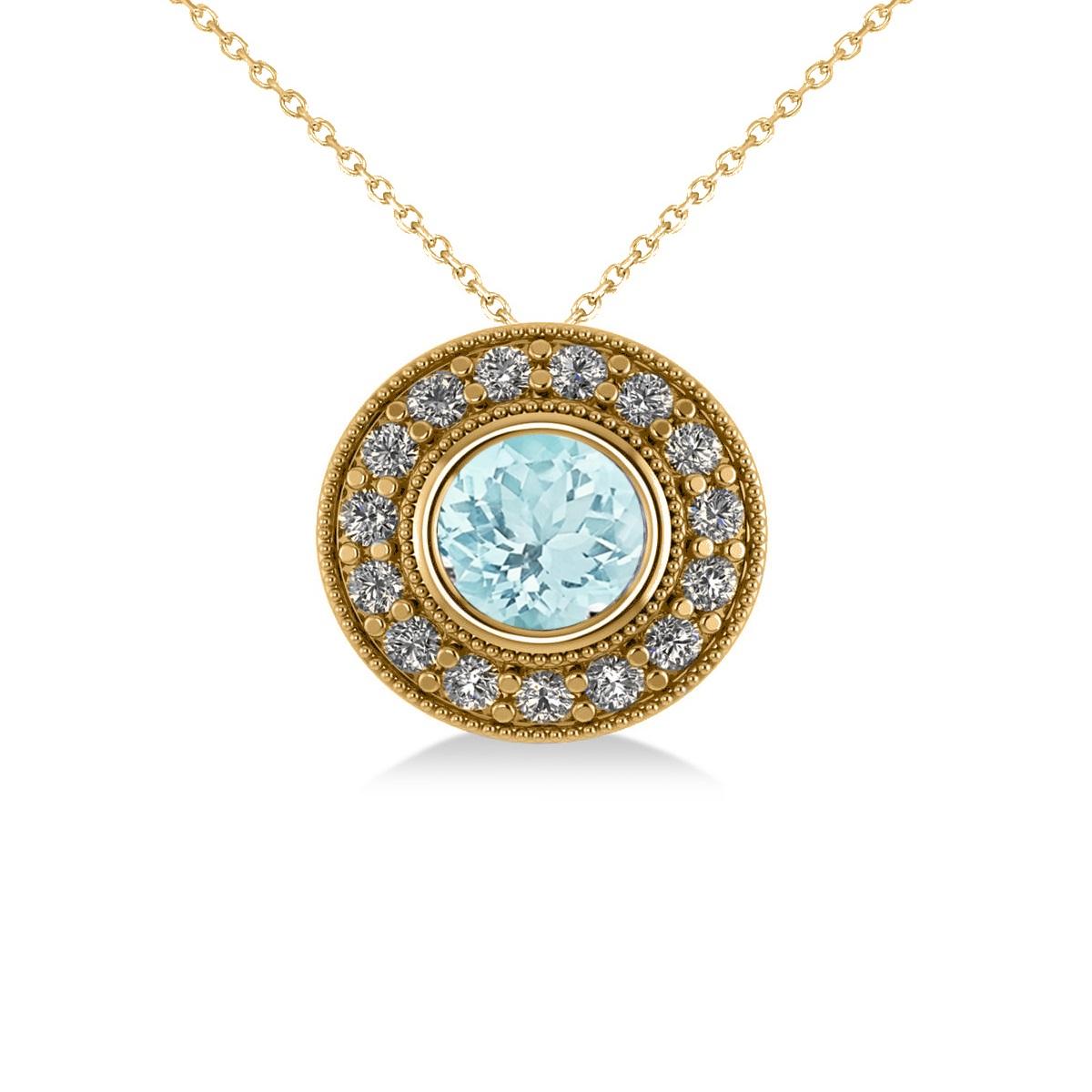 Round Aquamarine & Diamond Halo Pendant Necklace 14k Yellow Gold (1.76ct)