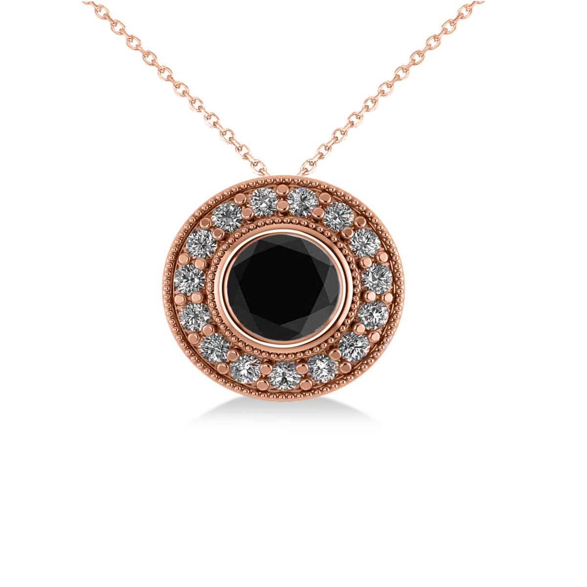 Round Black Diamond & Diamond Halo Pendant Necklace 14k Rose Gold (1.45ct)