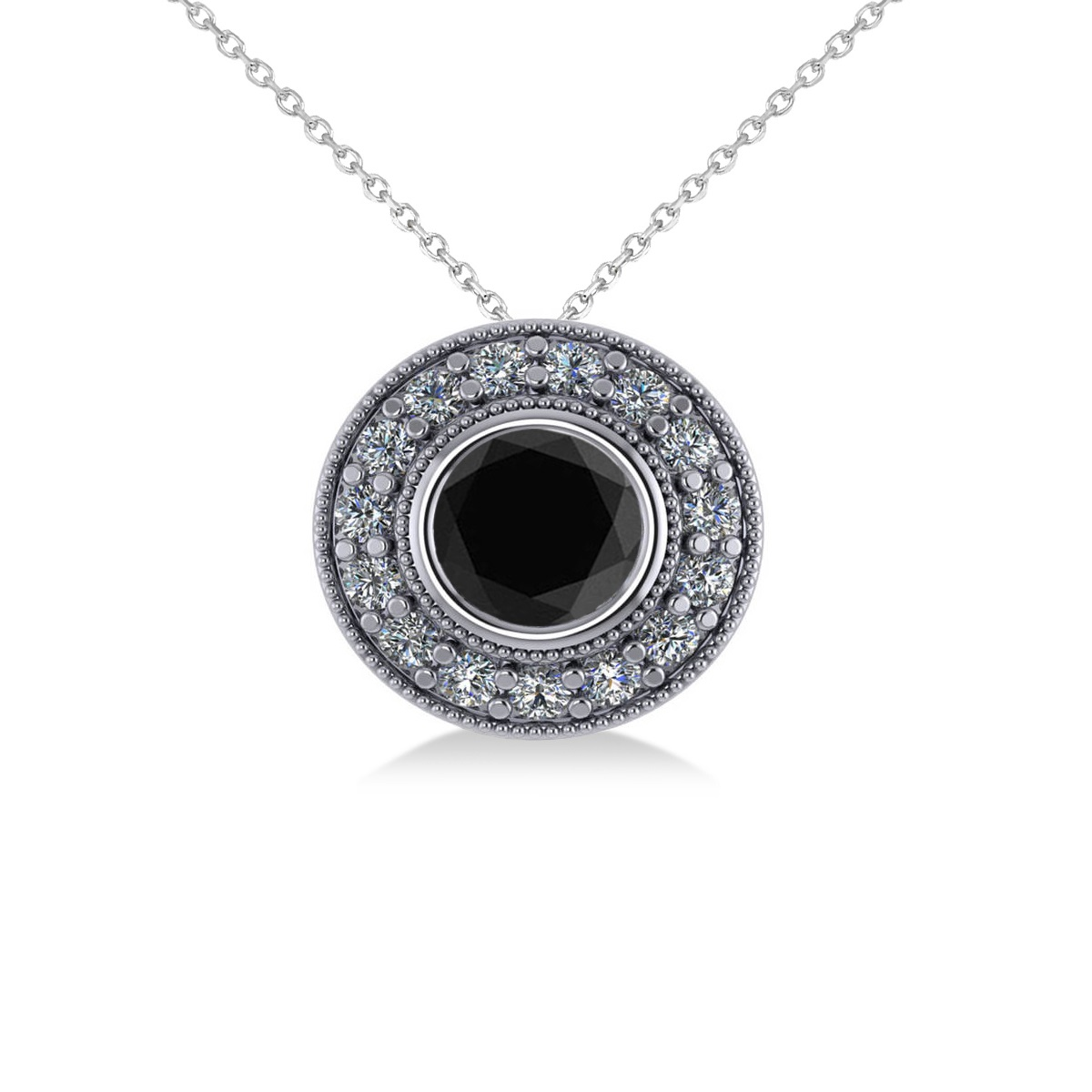 Round Black Diamond & Diamond Halo Pendant Necklace 14k White Gold (1.45ct)