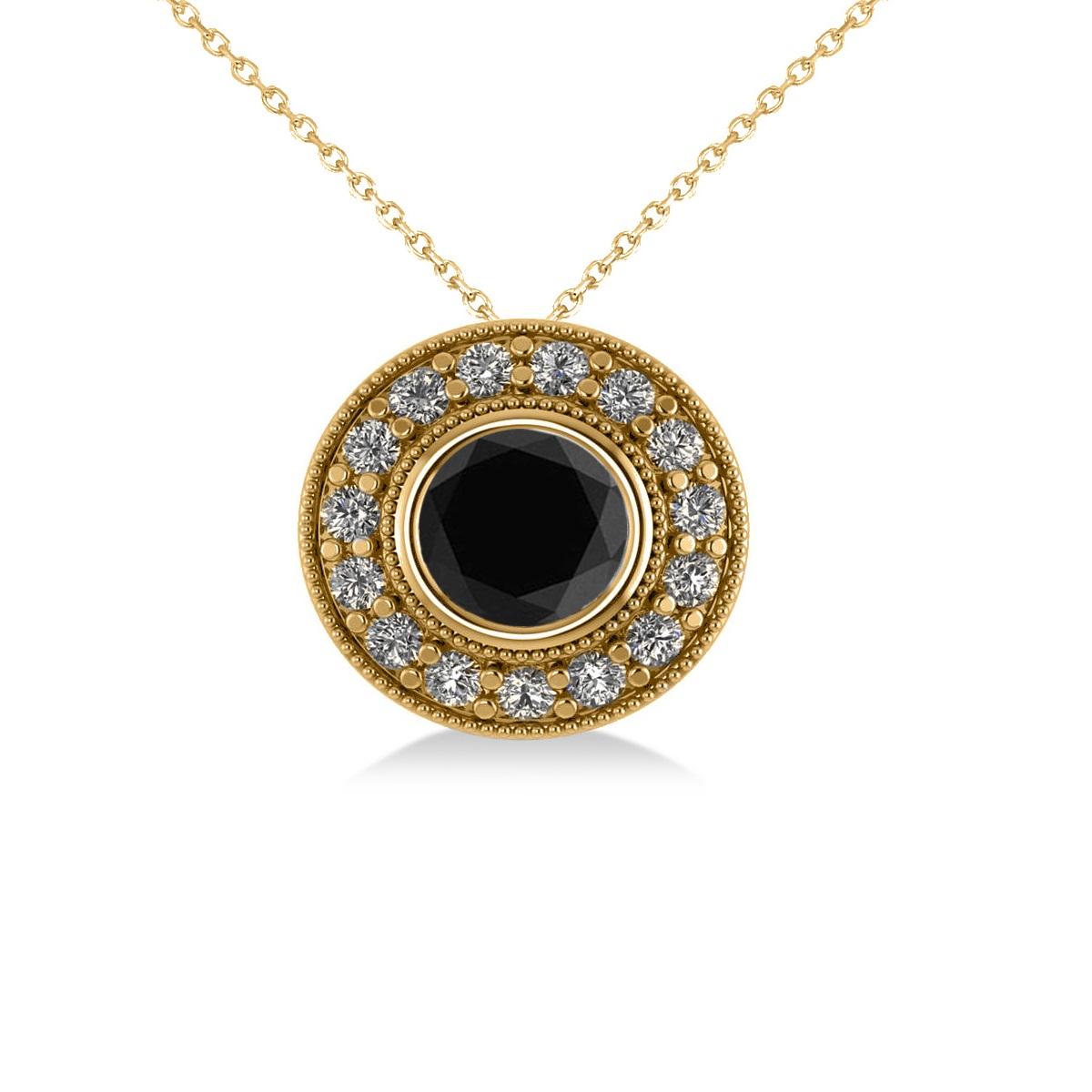 Round Black Diamond & Diamond Halo Pendant Necklace 14k Yellow Gold (1.45ct)