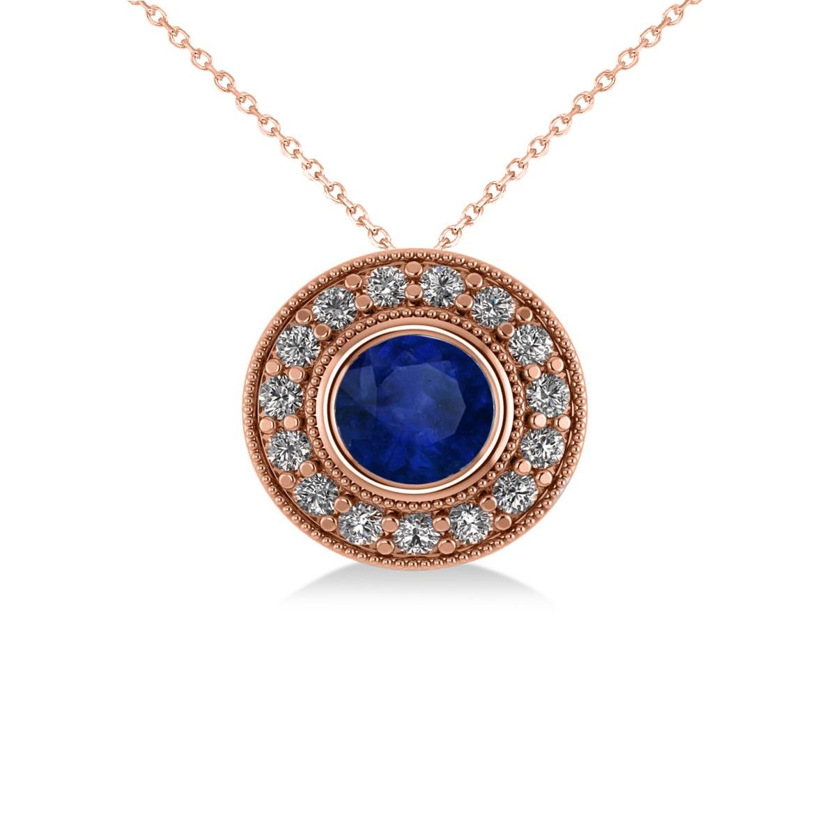 Round Blue Sapphire & Diamond Halo Pendant Necklace 14k Rose Gold (1.86ct)