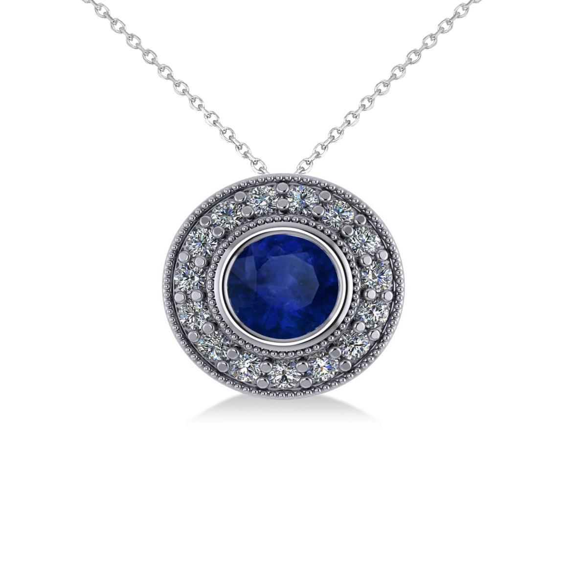 Round Blue Sapphire & Diamond Halo Pendant Necklace 14k White Gold (1.86ct)