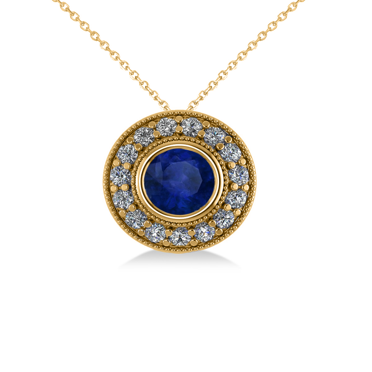 Round Blue Sapphire & Diamond Halo Pendant Necklace 14k Yellow Gold (1.86ct)
