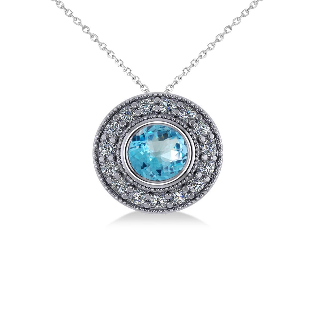 Round Blue Topaz & Diamond Halo Pendant Necklace 14k White Gold (1.81ct)