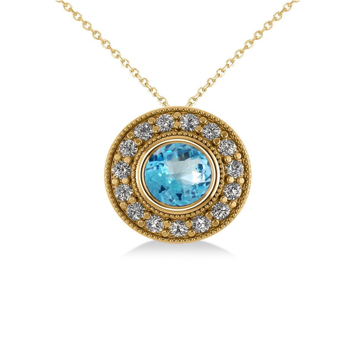 Round Blue Topaz & Diamond Halo Pendant Necklace 14k Yellow Gold (1.81ct)