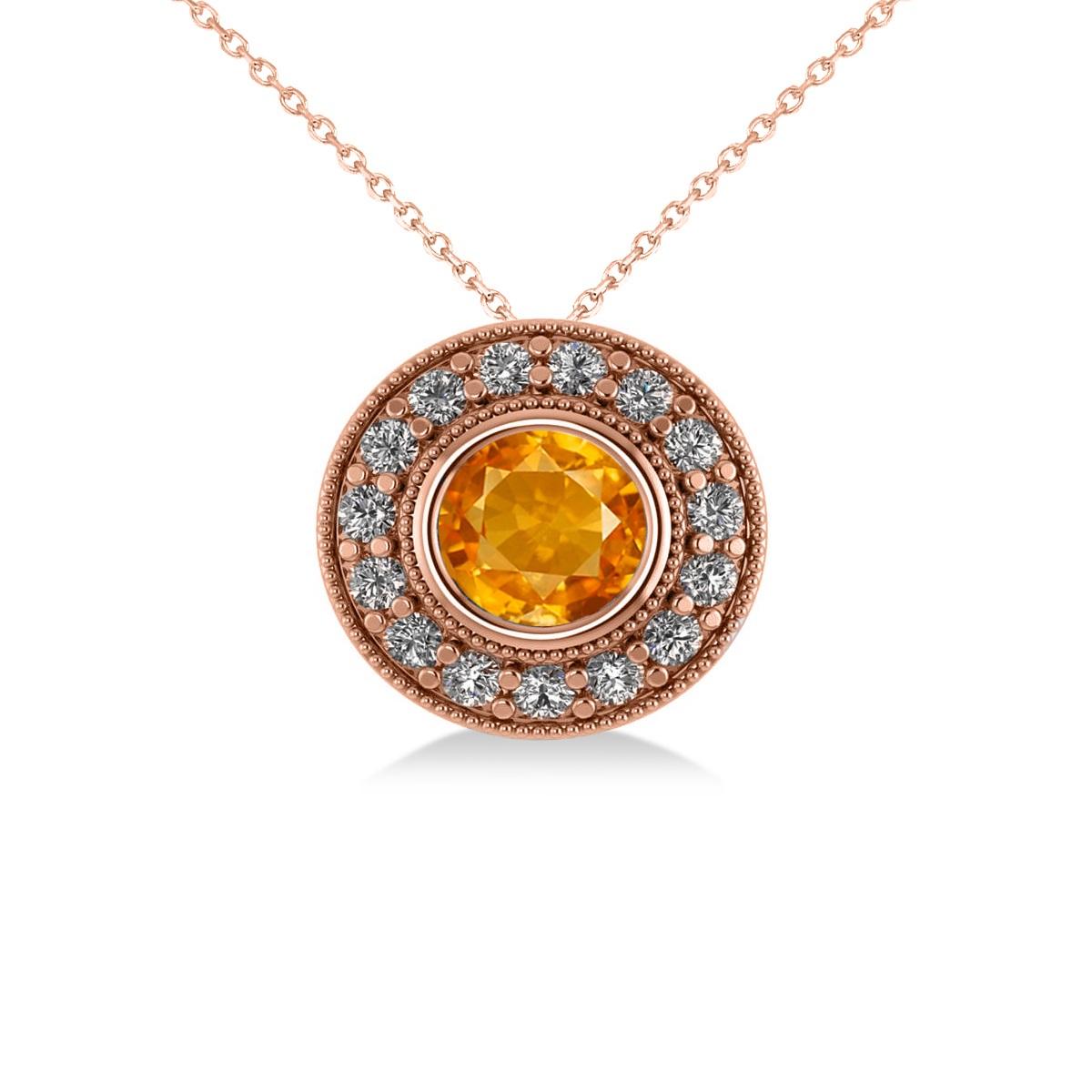 Round Citrine & Diamond Halo Pendant Necklace 14k Rose Gold (1.55ct)