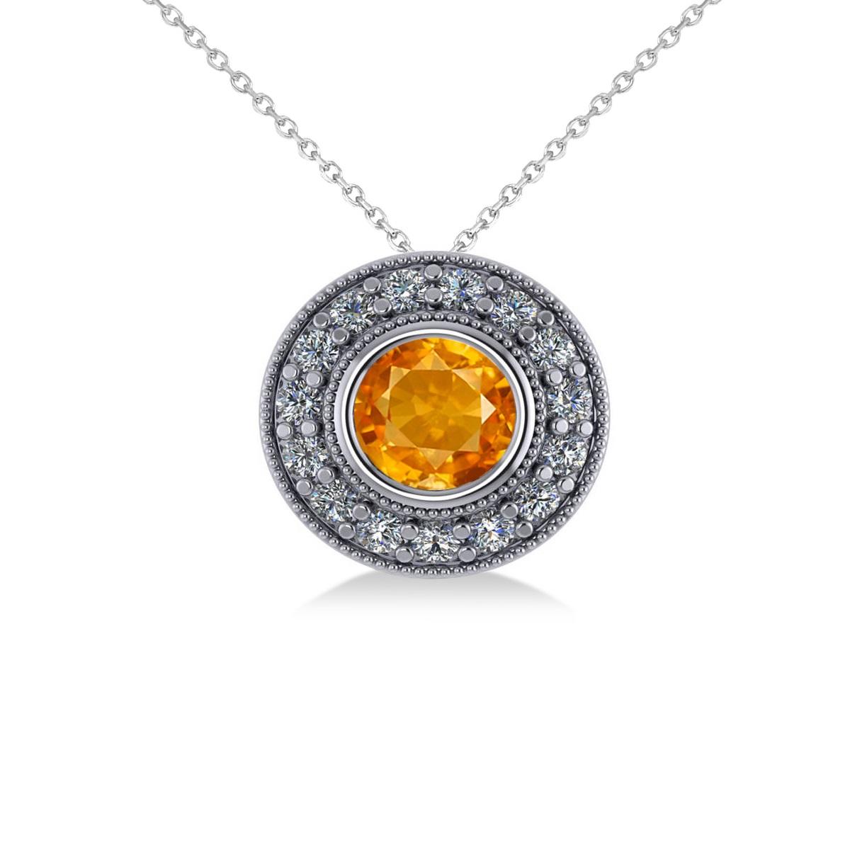 Round Citrine & Diamond Halo Pendant Necklace 14k White Gold (1.55ct)