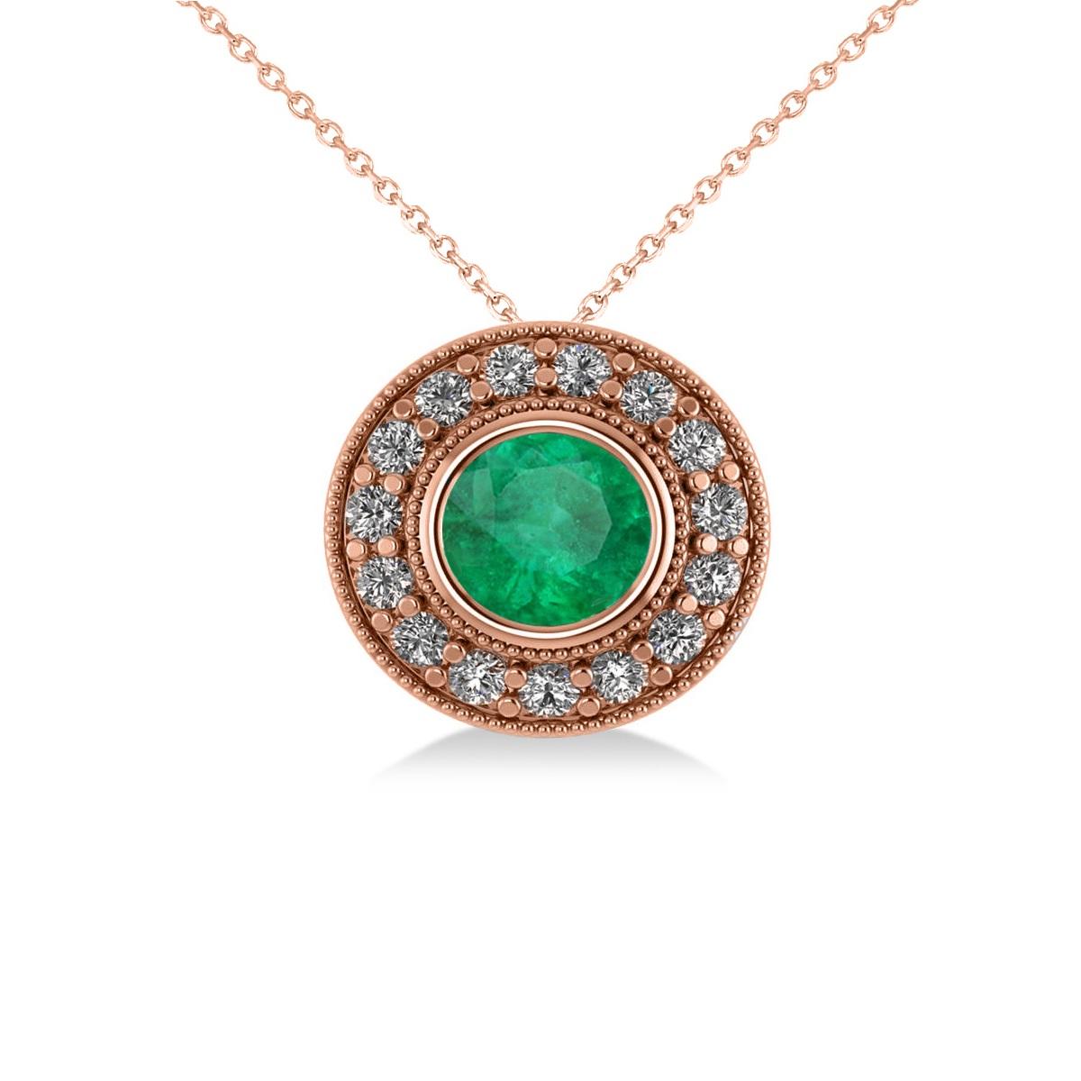 Round Emerald & Diamond Halo Pendant Necklace 14k Rose Gold (1.71ct)