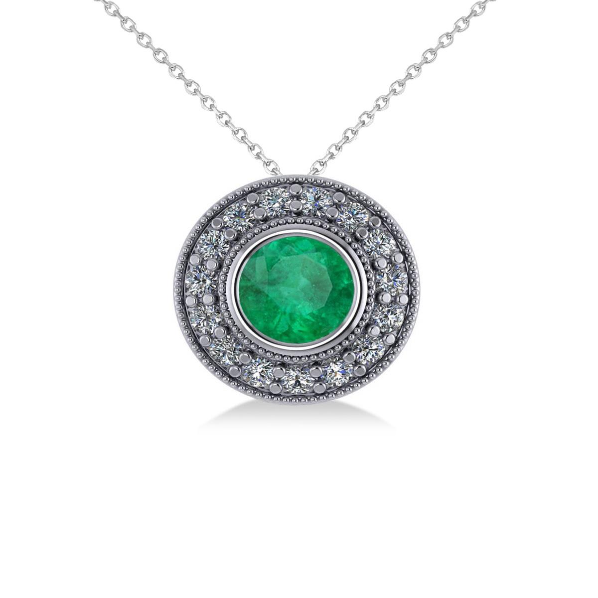 Round Emerald & Diamond Halo Pendant Necklace 14k White Gold (1.71ct)