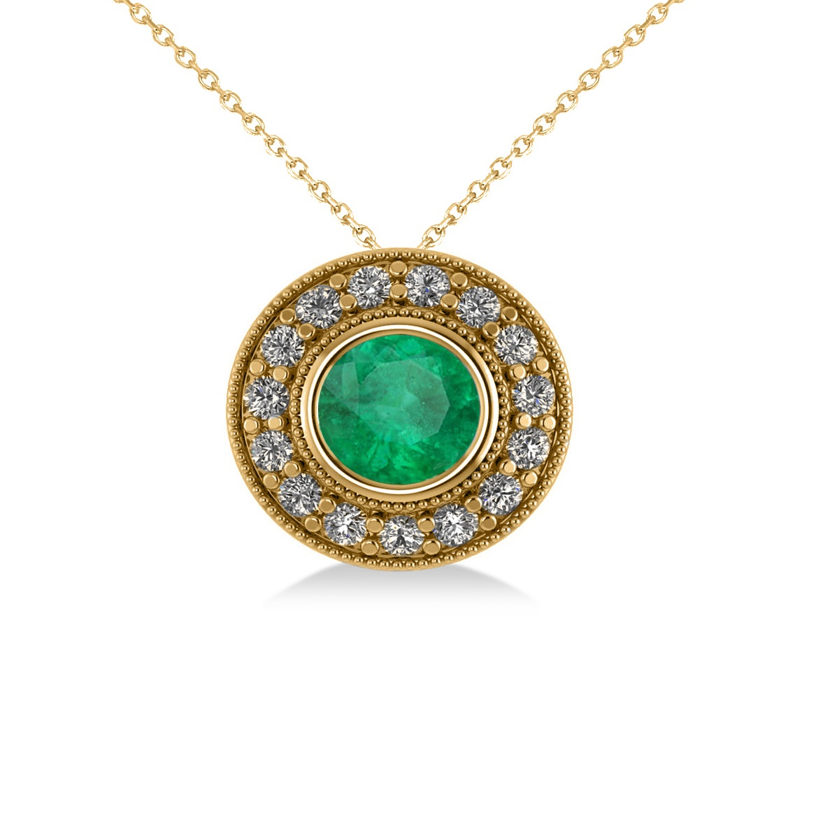 Round Emerald & Diamond Halo Pendant Necklace 14k Yellow Gold (1.71ct)
